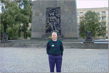Dick Klein at the Warsaw Ghetto Monument